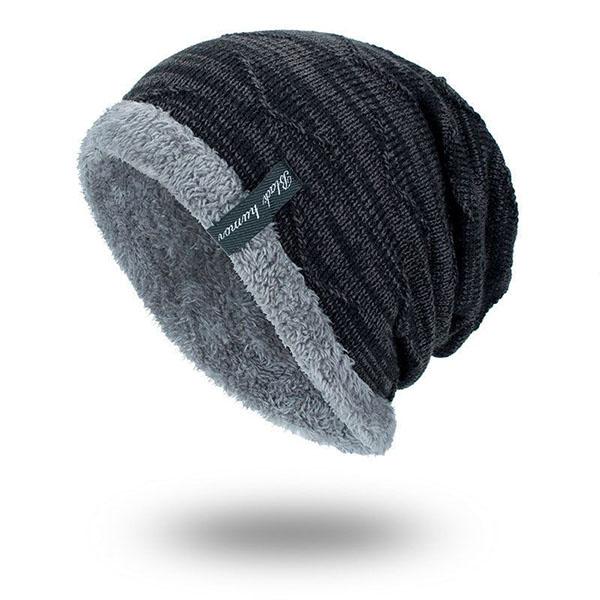 Mens Plus Velvet Knitted Stripe Beanie Hats Outdoor Winter Warm Skullies  Beanies adeb1cf2a682