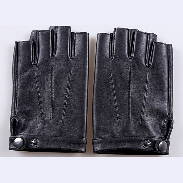 Men Women Leather Skid Resistance Gloves Half Finger Outdoor Fitness Gloves For Cycling Climbing