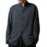 INCERUN Mens Vintage Chinese Style Cotton Stand Collar Casual Long Sleeve Loose Shirts Plus Size