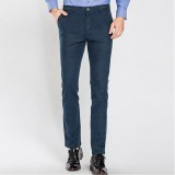 Autumn Winter Men's Casual Sanding Stretch Straight Slim Pants Business Casual Dress Suit Pants