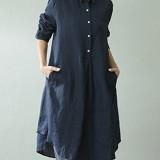 Women Casual Long Sleeve Lapel Button Pure Color Shirt Dresses