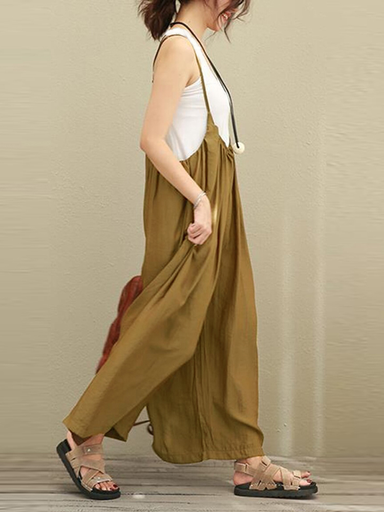 S-5XL Women Casual Sleeveless Strap Baggy Wide Leg Pant Jumpsuit Rompers