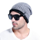 Men Solid Warm Knitted Caps Winter Hats Plush Lining Skullies Beanies Hat Adjustable