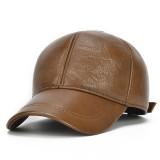 Mens Cowhide Warm Baseball Cap Earflap Earmuffs Windproof Outdoor Sport Hats