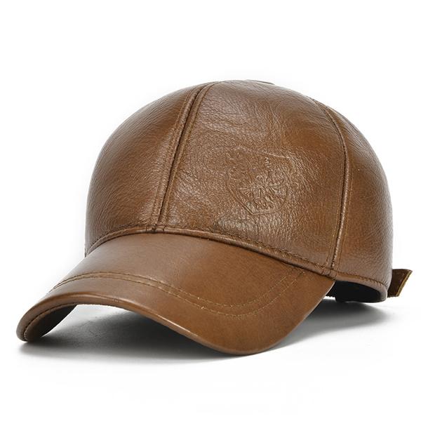 f7f103d9d Mens Cowhide Warm Baseball Cap Earflap Earmuffs Windproof Outdoor Sport Hats