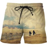 Mens Printing Quick Drying Fashion Casual Pocket Board Beach Shorts Plus Size