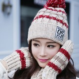 Women Winter Warm Hat Scarves Gloves Set Cotton Kintted Pompom Hats Stripe Thick Gloves