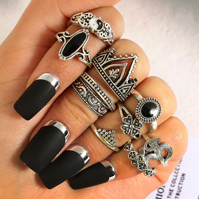 2edae2d66337e 10Pcs Bohemian Statement Ring Set Vintage Crown Star Moon Flower Knuckle  Rings for Women