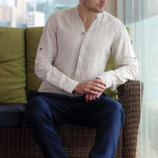 Mens Casual V Neck Long Sleeve Slim Fit Pure Color White Cotton Linen Shirts