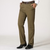 Mens Business Cotton Breathable Suit Pants Summer Straight Leg Solid Color Casual Trousers
