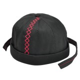 Men Women Canvas Embroidery Skullcap Rolled Cuff Brimless Hats Adjustable Stripe Beanies Caps