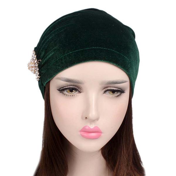 92da2c08216 Womens Fleece Slouch Rhinestone Skullies Beanie Caps Bonnet Cap Outdoor  Earmuffs Hat Turban