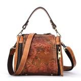 Brenice Women Retro Genuine Leather Bucket Handbag Hand Embossed Craft Flower Crossbody Bag