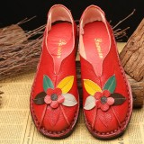 SOCOFY Retro Genuine Leather Soft Sole Casual Flower Flat Loafers