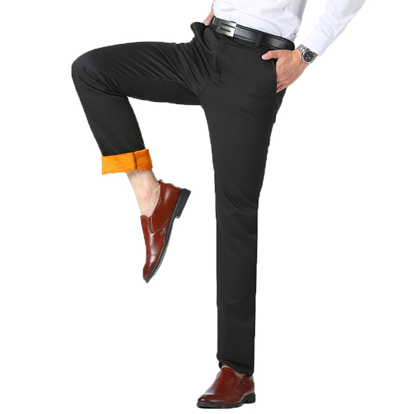 19a94dd303c Autumn Winter Thermal Velvet Straight Suit Pants Middle-aged Men Casual  Business Thick Warm Trousers