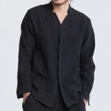 ChArmkpR Vintage Chinese Style Cotton Loose Comfy Shirts Plus Size Zen Dress Tea Clothes for Men