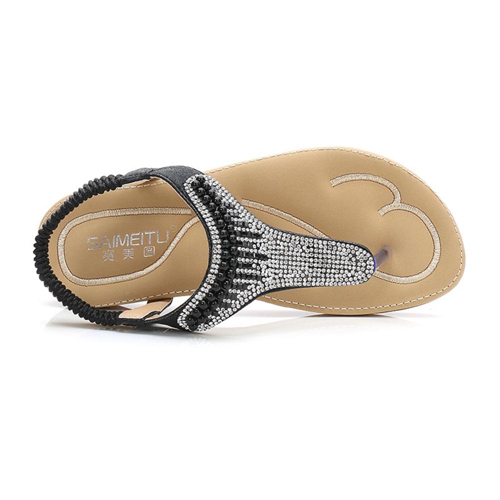 Beaded Bohemia Clip Toe Casual Flat Sandals For Women