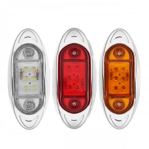 12V 6 LED Car Side Marker Indicator Light Chrome Base Lamp for Truck Trailer Lorry Van Bus