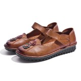 Women Casual Comfy Soft Sole Hook Loop Leather Flat Loafers