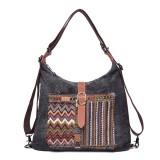 Brenice National Floral Canvas Retro Multifunction Women Shoulder Crossbody Bag Backpack