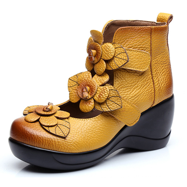 SOCOFY Platporm Women Genuine Leather Flower Retro Hook Loop Platporm SOCOFY Shoes ... 741030