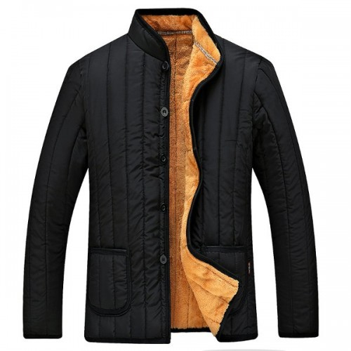 Mens Winter Black Fleece Thick Warm Solid Color Stand Collar Jacket