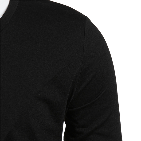 Fashion Mens Hip-Hop Irregular Hem Tops Long Sleeve Casual Cotton Black T-shirt