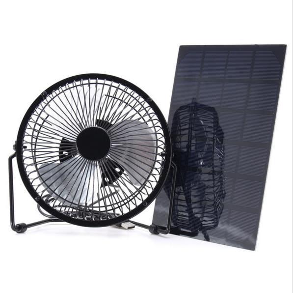 black solar panel powered usb fan 8 inch 5w cooling ventilation for outdoor traveling home. Black Bedroom Furniture Sets. Home Design Ideas