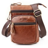Men Phone Bag Multifunction Oil Wax Genuine Leather Shoulder Crossbody Bag Waist Bag