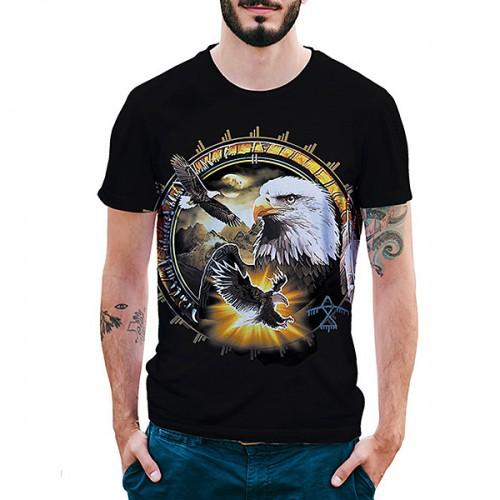 Eagle Pattern 3D Printed T-Shirts Summer Mens Casual O-neck Short Sleeve Tops Tees
