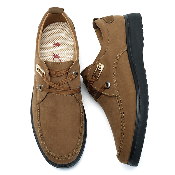 Large Size Hand Stitching Moc Toe Shoes Comfy Lace Up Flat Oxfords