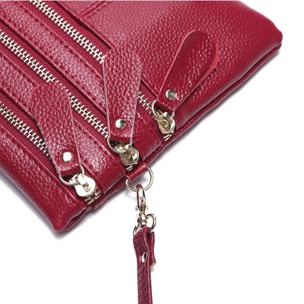 Women Genuine Leather Multi-Function Phone Bag Solid Crossbody Bag
