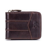 Vintage RFID Antimagnetic Genuine Leather 13 Card Slots Coin Bag Trifold Wallet For Men