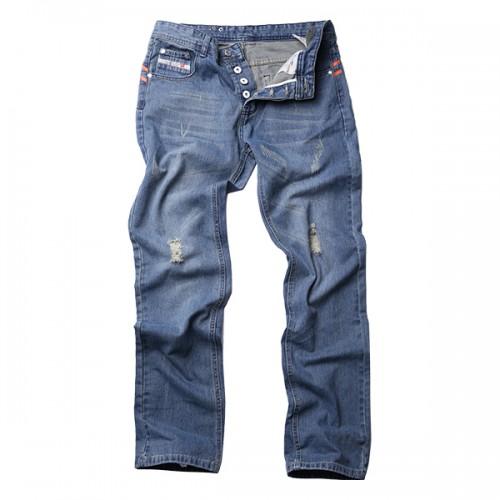 Mens Vintage Holes Light Blue Straight Slim Button Fashion Jeans Denim Pants