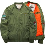 ASSTSERIES Mens Embroidery Bomber Jacket Thick Warm Fashion Casual Baseball Flight Jacket