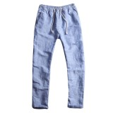 Chinese Style Breathable Cotton Linen Loose Pants Mens Solid Color Casual Drawstring Pants