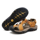 Men Anti Collision Toe Breathable Hollow Outs Adjustable Lace Up Sandals Shoes
