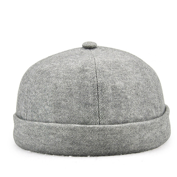 Men Vintage Solid Skullcap Sailor Cap Warm Rolled Cuff Bucket Cap