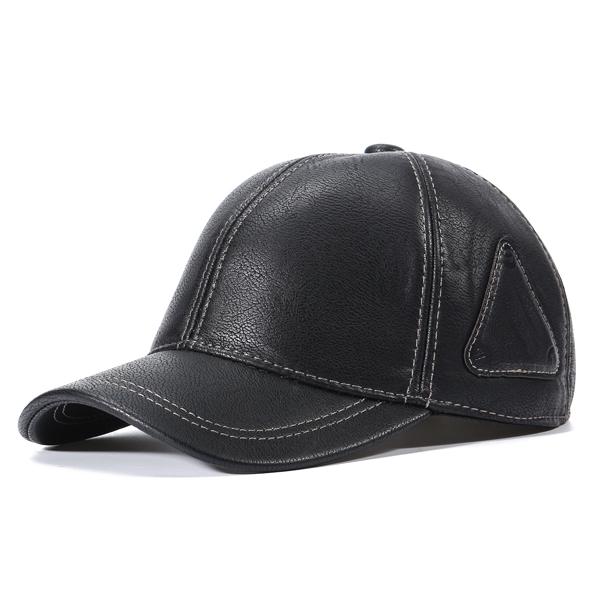 91f842498de2d Mens Artificial Leather Sport Baseball Caps Adjustable Earflaps Warm  Snapback Hat