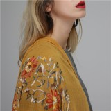 Women Linen Handcraft Embroidery Printting Scarves Fashion Summer Outdoor Flower Shawl Scarf