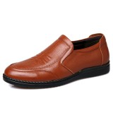 Men Comfy Casual Business Soft Warm Lining Genuine Leather Slip On Oxfords
