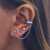 Punk Cartilage Earring Vintage Antique Silver Color Piercing Stud Earrings for Women