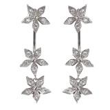 925 Sterling Silver Flower Earrings Dazzling Zirconia Rose Gold Ear Drop for Women