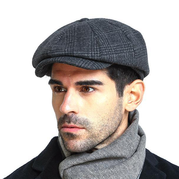 aa35207930e Men Vintage Wool Gird Beret Hat Winter Warm Gentleman Octagonal Cap ...