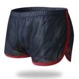 Mens Mesh Loose Breathable Sport Home Contrast Color Edge Boxers Arrow Shorts Underwear