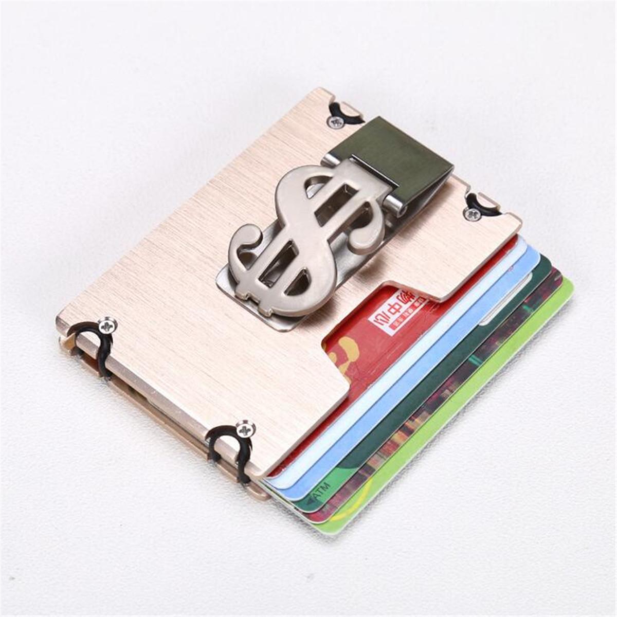 Men RFID Blocking Slim Credit Card Holder Aluminum Money Clip Minimalist Wallet