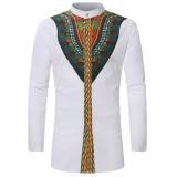 Mens Vintage Ethnic Printing Long Sleeve Stand Collar Designer Shirts