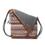 Brenice National Printing Canvas Retro Bohemia Style Button Women Shoulder Crossbody Bag