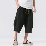 Stylish Mens Cotton Linen Baggy Loose Calf Length Pants Antibacterial Casual Shorts