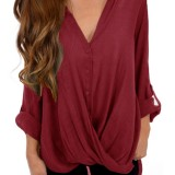 Women Long Sleeve Asymmetrical Hem Adjustable V-neck Buttons Loose Blouse